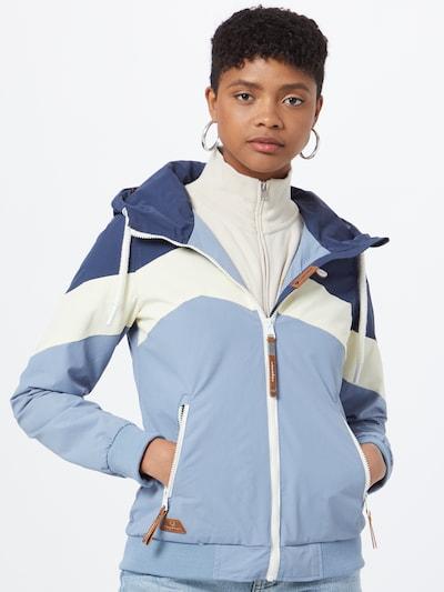 Ragwear Jacke 'NUGGIE BLOCK' in pastellblau / dunkelblau / weiß: Frontalansicht
