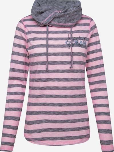 Soccx Streifenshirt mit hohem Kragen und Back Print in pink, Produktansicht