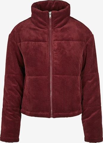 Urban Classics Between-Season Jacket 'Corduroy Puffer Jacket' in Red