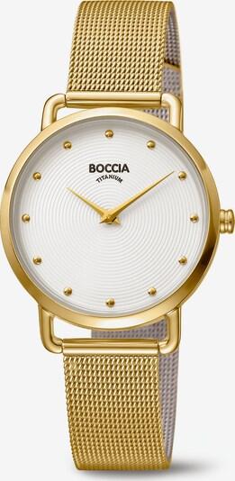 Boccia Titanium Analoguhr in gold / weiß, Produktansicht