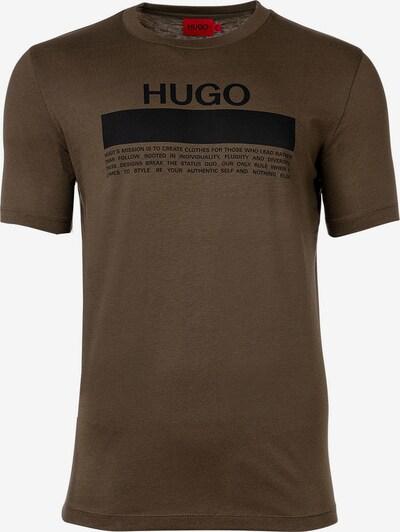 HUGO Shirt in de kleur Olijfgroen / Zwart, Productweergave