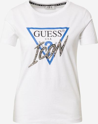 GUESS Majica u sivkasto plava / crna / prljavo bijela, Pregled proizvoda