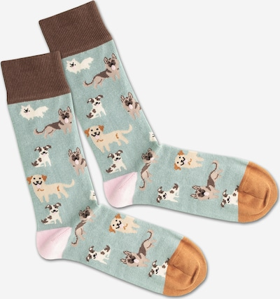 DillySocks Socken 'SS20-47 Doggy Dog' in braun / grün / weiß, Produktansicht