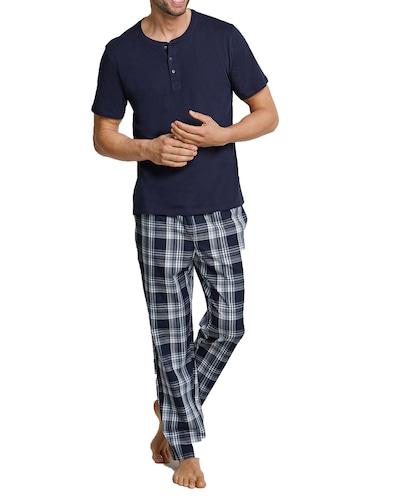 SCHIESSER Pyjamahose in dunkelblau / weiß, Modelansicht