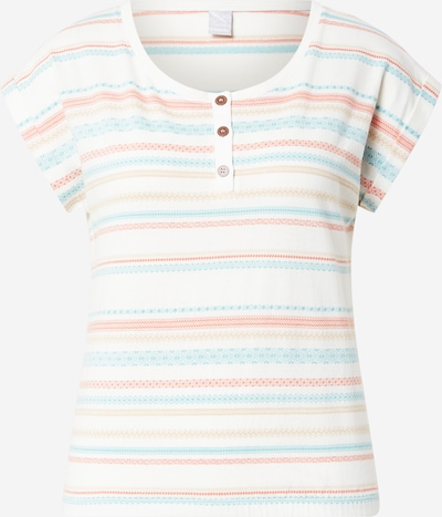 Tricou 'Caipini' Iriedaily pe bej închis / albastru deschis / roșu pastel / alb murdar, Vizualizare produs