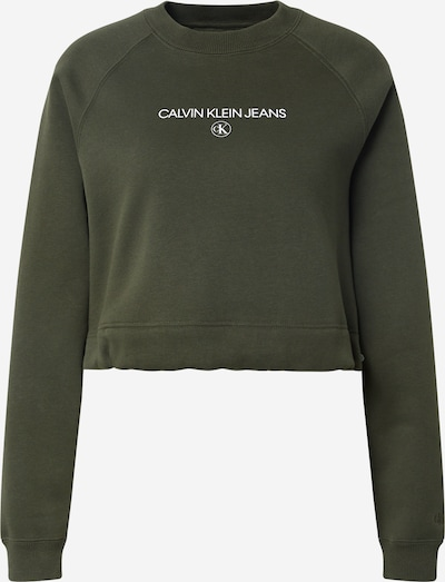 Bluză de molton Calvin Klein Jeans pe kaki / alb, Vizualizare produs