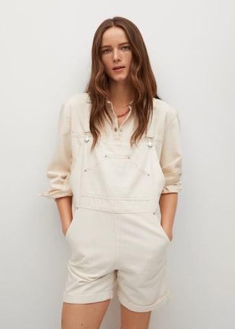 MANGO Tuinbroek jeans 'Melissa' in Wit