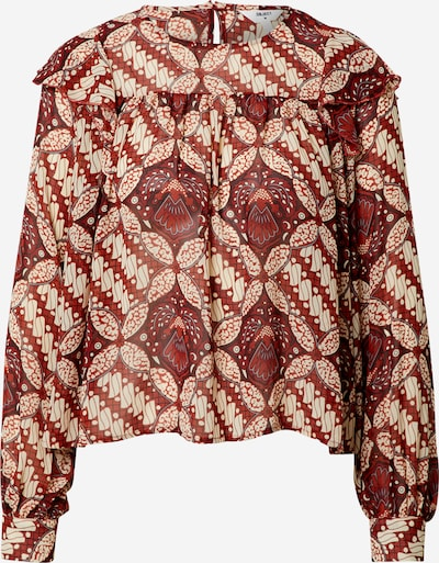 OBJECT Petite Bluse 'GRIVA' in beige / rot / weiß, Produktansicht