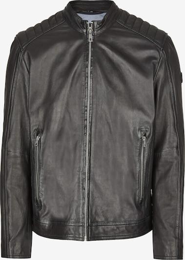 bugatti Lederjacke mit Schultersteppung und Reißverschlüssen in schwarz, Produktansicht