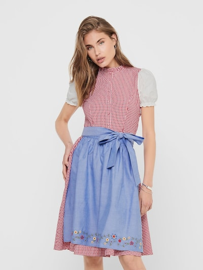 ONLY Dirndl en bleu / rose / blanc, Vue avec modèle