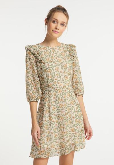DreiMaster Vintage Kleid in creme / gelb / grün, Modelansicht