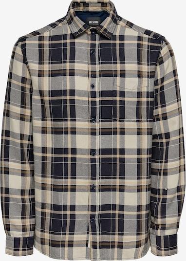 Only & Sons Skjorta 'Joshua' i kitt / nattblå / brun / greige: Sedd framifrån