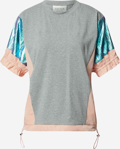 Cecilie Copenhagen T-shirt 'Marikka' en bleu / gris clair / rose, Vue avec produit