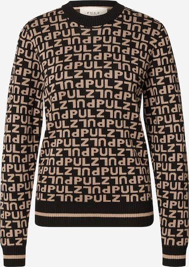 PULZ Jeans Džemperis 'NOELLE', krāsa - gaiši brūns / melns, Preces skats