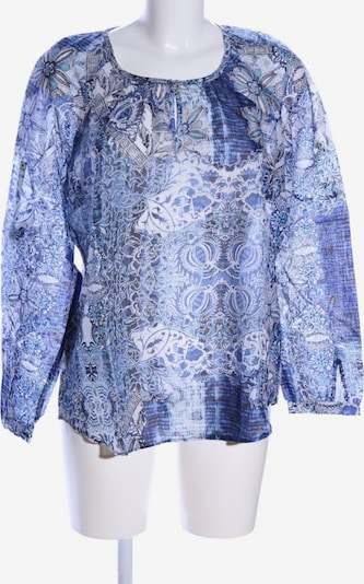 TAIFUN Langarm-Bluse in L in blau / hellgrau / weiß: Frontalansicht