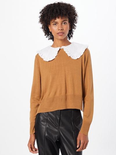 ONLY Pullover in hellbraun / weiß, Modelansicht