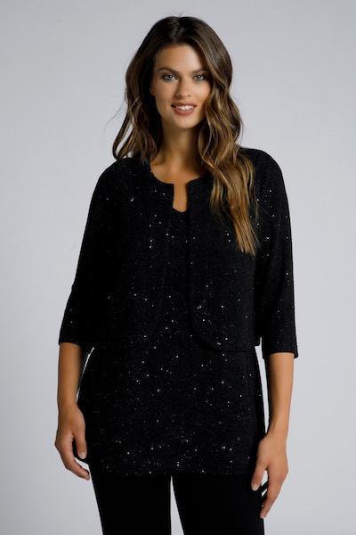 Ulla Popken Bolero in de kleur Zwart, Modelweergave