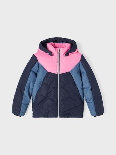 NAME IT Jacke 'Marco' in taubenblau / dunkelblau / pink: Frontalansicht