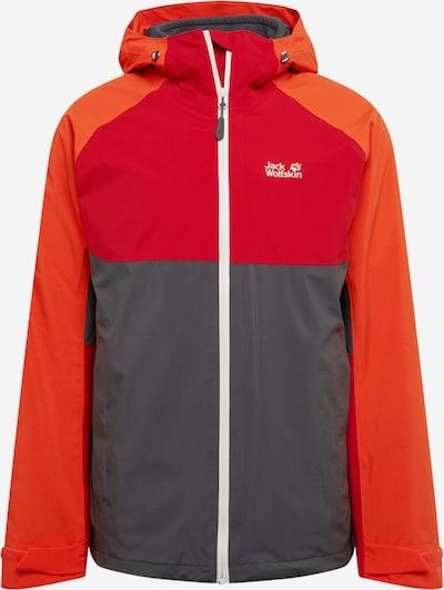 Laisvalaikio striukė 'MOUNT ISA 3IN1 M' iš JACK WOLFSKIN, spalva – tamsiai pilka / tamsiai oranžinė / raudona / balta, Prekių apžvalga