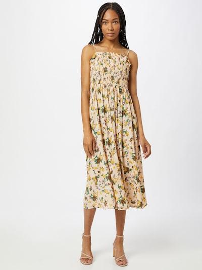 OBJECT Kleid 'FANNIE' in hellbeige / dunkelbraun / senf / grün, Modelansicht