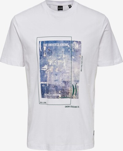 Only & Sons Camiseta 'Vester' en azul / berenjena / blanco, Vista del producto