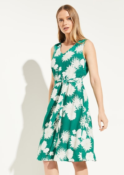 COMMA Kleid in grün / weiß: Frontalansicht