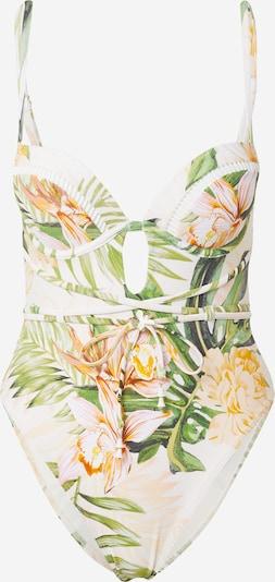 River Island Jednodijelni kupaći kostim 'Plunge Palm' u boja pijeska / žuta / zelena / rosé, Pregled proizvoda