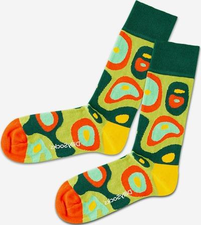 DillySocks Socks 'Grass Island' in Yellow / Mint / Light green / Dark green / Orange, Item view