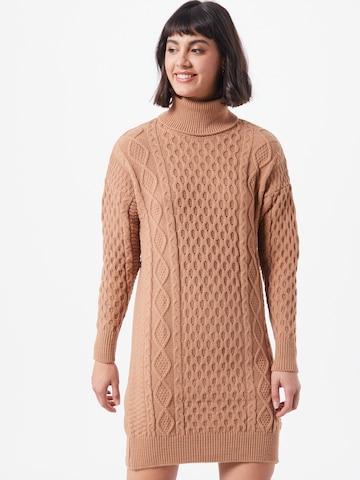 Trendyol Pletené šaty - Hnedá