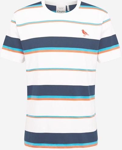 Cleptomanicx Shirt 'Coasting' in türkis / taubenblau / pastellorange / weiß, Produktansicht