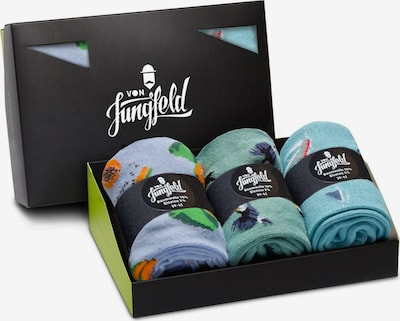 Von Jungfeld Chaussettes en bleu-gris / vert / orange / rose, Vue avec produit