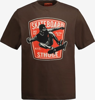 STHUGE Shirt in de kleur Lichtbeige / Donkerbruin / Sinaasappel / Zwart, Productweergave