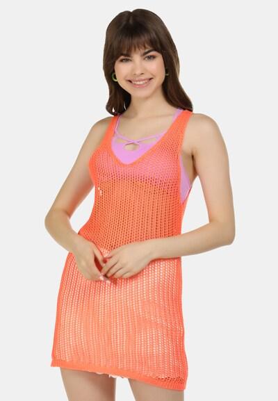 MYMO Strandjurk in de kleur Sinaasappel, Modelweergave