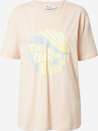 NA-KD Shirt 'Sun Is Out' in de kleur Lichtblauw / Geel / Poederroze, Productweergave