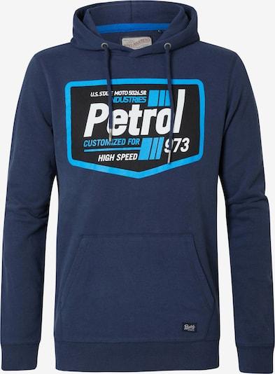 Petrol Industries Sweatshirt in de kleur Navy / Neonblauw / Wit: Vooraanzicht