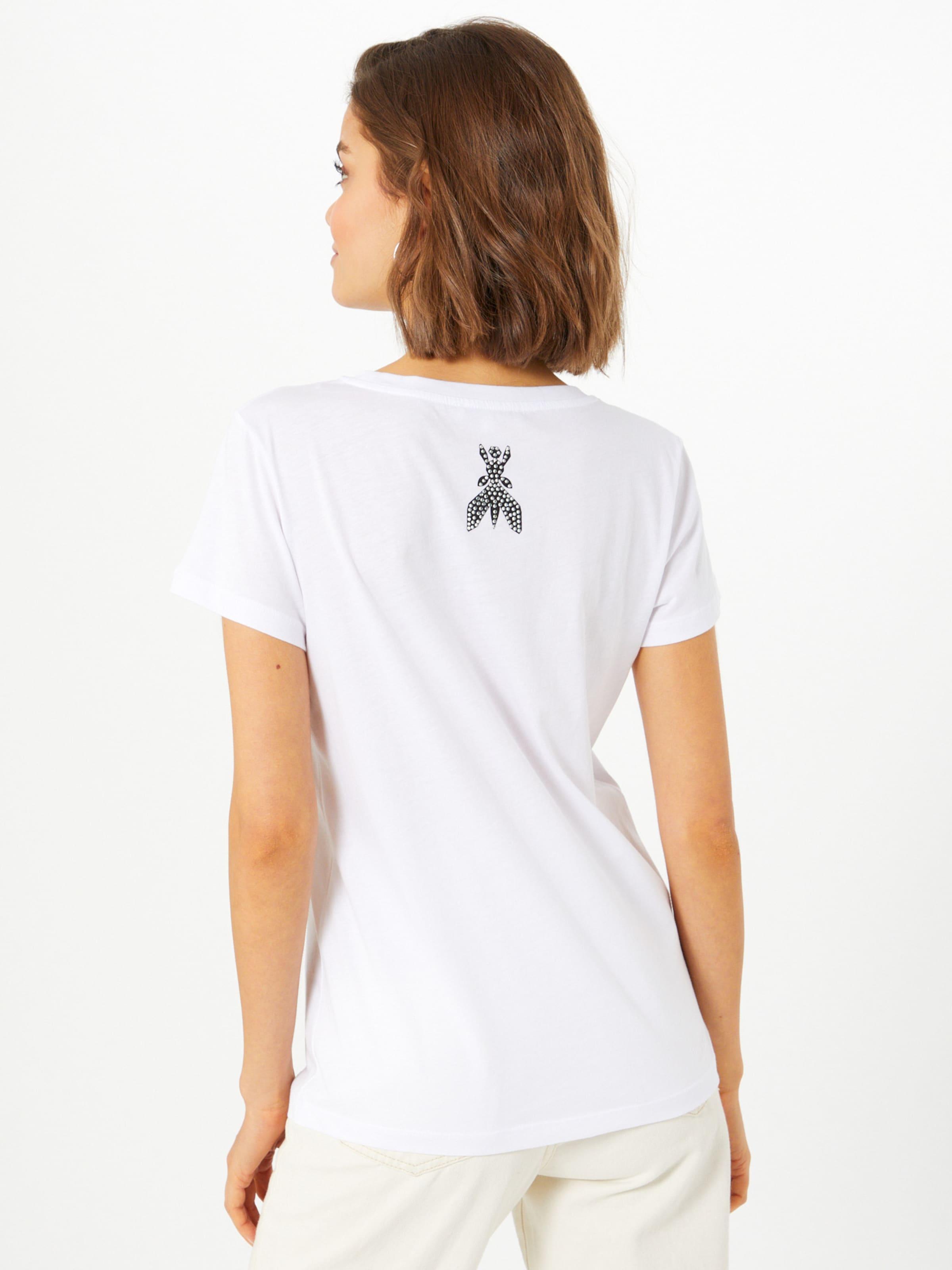 PATRIZIA PEPE Póló 'Magila' fekete / fehér színben
