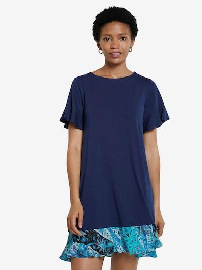 Desigual Robe en turquoise / bleu nuit / blanc, Vue avec modèle