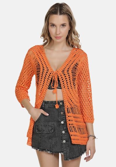 IZIA Gebreid vest in de kleur Sinaasappel: Vooraanzicht