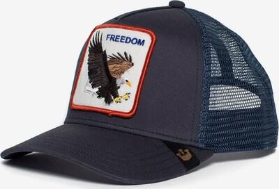 GOORIN Bros. Pet 'Freedom' in de kleur Chocoladebruin / Violetblauw / Rood / Wit, Productweergave