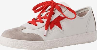 JANA Sneakers laag in de kleur Beige / Rood / Wit: Vooraanzicht