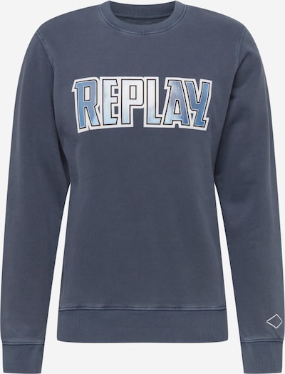 REPLAY Sweat-shirt en bleu-gris / blanc, Vue avec produit