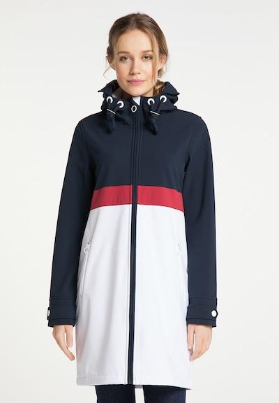 DreiMaster Maritim Mantel in nachtblau / grenadine / weiß, Modelansicht