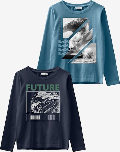 NAME IT Shirt in blau / grau / grün, Produktansicht