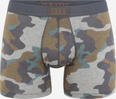 SAXX Boxers en bleu pastel / gris clair / gris foncé / kaki, Vue avec produit
