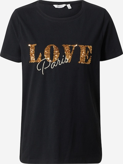 b.young T-Shirt 'Pandina Paris' in gold / schwarz, Produktansicht