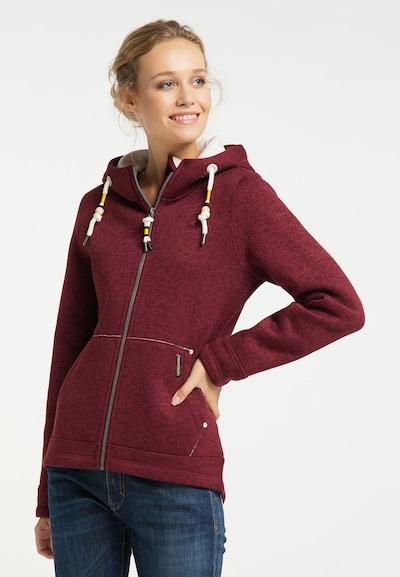 Schmuddelwedda Fleece jas in de kleur Donkerrood: Vooraanzicht