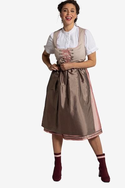 Ulla Popken Dirndl en beige / marron / rose, Vue avec modèle