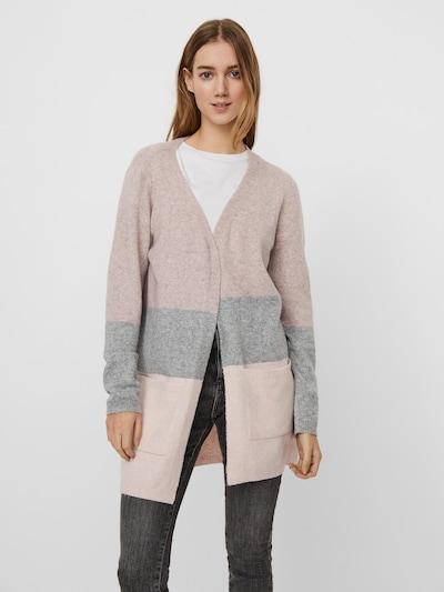 VERO MODA Плетена жилетка 'Dina' в сив меланж / пастелнолилаво / антично розово, Преглед на модела