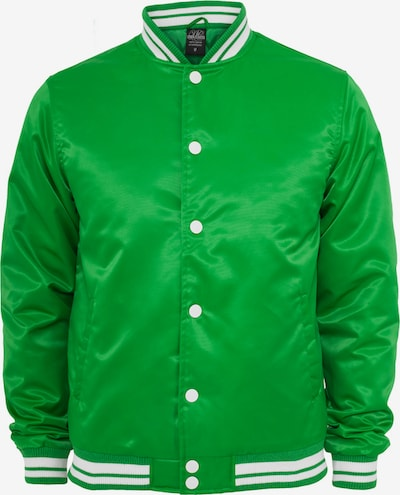 Urban Classics Tussenjas 'Mens Shiny College Jacket' in de kleur Groen, Productweergave
