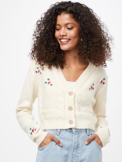 Cotton On Strickjacke in dunkelgrün / pink / hellpink / weiß, Modelansicht